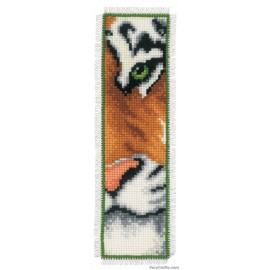 BOOKMARK TIGER COUNTED CROSS STITCH KIT BY Vervaco / Lanarte