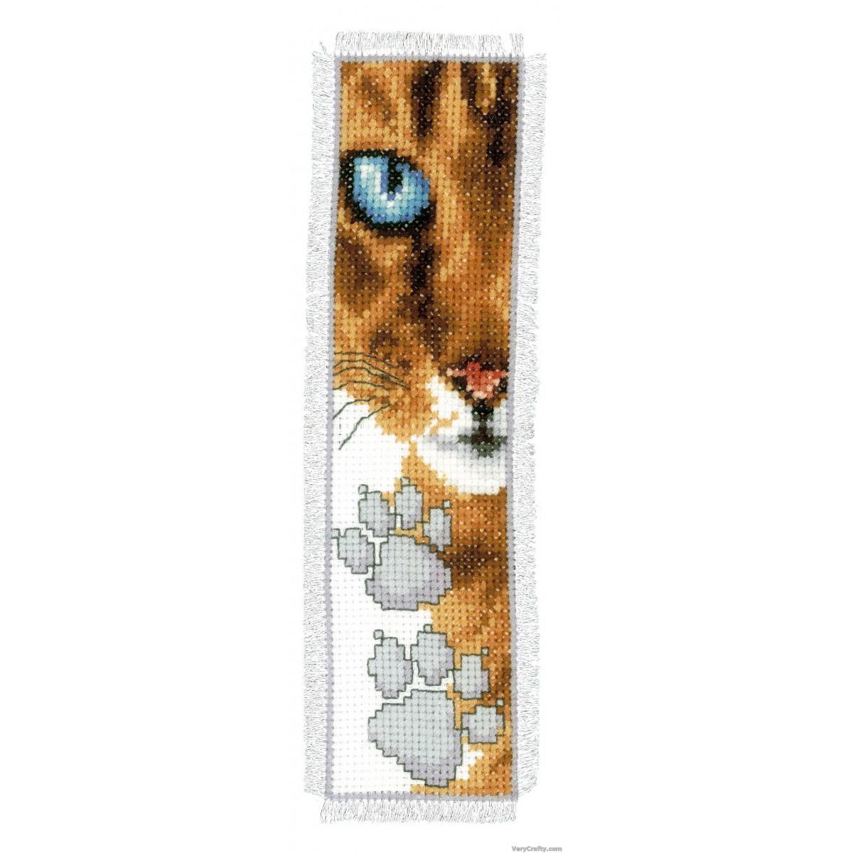 Vervaco Bookmark Cat Footprint Cross Stitch Kit