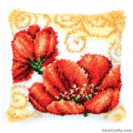 Cushion: Poppies Latch Hook Kit by Vervaco / Lanarte
