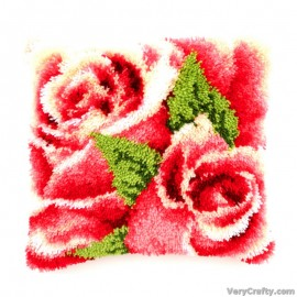 Cushion: Pink Roses Latch Hook Kit by Vervaco / Lanarte