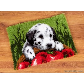 Rug: Dalmatian with Apples Latch Hook Kit by Vervaco / Lanarte