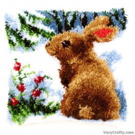 Cushion: Rabbit in the Snow Latch Hook Kit by Vervaco / Lanarte