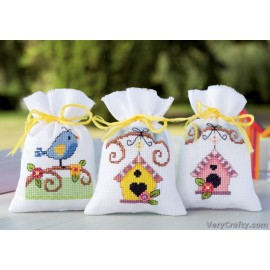 Bird and Bird Houses: Set of 3  Pot Pourri Bag Counted Cross Stitch Kit by Vervaco / Lanarte
