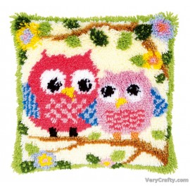 Cushion: Owls on a Branch Latch Hook Kit by Vervaco / Lanarte