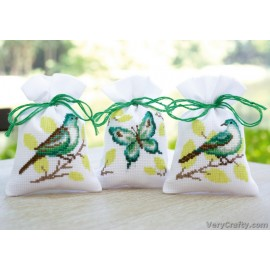 Bird & Butterfly: Set of 3 Pot Pourri Bags  Counted Cross Stitch by Vervaco / Lanarte