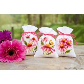 Echinacea & Butterflies II: Set of 3 Pot Pourri Bag Counted Cross Stitch Kit by Vervaco