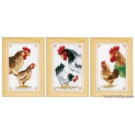 Chickens: Set of 3 Counted Cross Stitch Kit by Vervaco