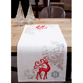Reindeer Table Runner Counted Cross Stitch Kit by Vervaco