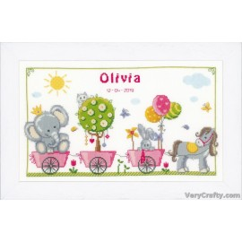 Cute Animal Parade Counted Cross Stitch Kit by Vervaco