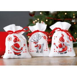 PChristmas Elves: Set of 3 Pot Pourri Bag Counted Cross Stitch Kit by Vervaco