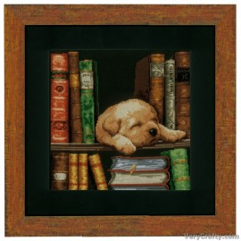 Puppy Sleeping Aida Counted Cross Stitch Kit by Vervaco