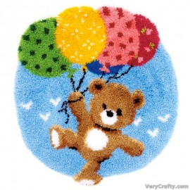 Rug: Bear with Balloons Latch Hook Kit by Vervaco / Lanarte