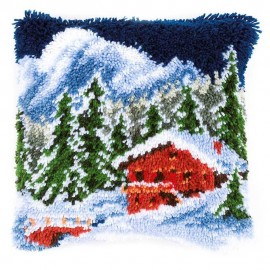 Cushion: Winter Mountains Latch Hook Kit by Vervaco / Lanarte