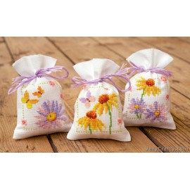 Cornflowers & B.flies: Set of 3 Pot Pourri Bags  Counted Cross Stitch Kit by Vervaco / Lanarte