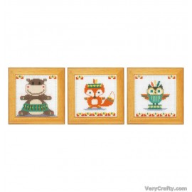 Cute Animals: Set of 3 Counted Cross Stitch Kit by Vervaco / Lanarte