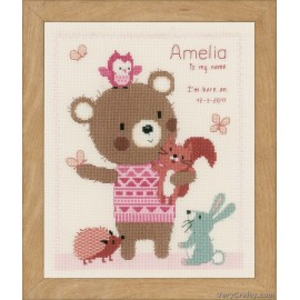 Cute Animal Friends Birth sampler Counted Cross Stitch Kit by Vervaco / Lanarte
