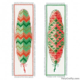 Feathers (Set of 2) Bookmarks Counted Cross Stitch Kit by Vervaco / Lanarte