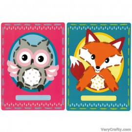 Cards: Owl and Fox: Set of 2  Embroidery Kit by Vervaco / Lanarte