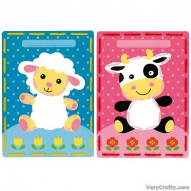 Cards: Lamb and Cow: Set of 2  Embroidery Kit by Vervaco / Lanarte