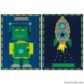 Cards: Robot and Rocket: Set of 2  Embroidery Kit by Vervaco / Lanarte