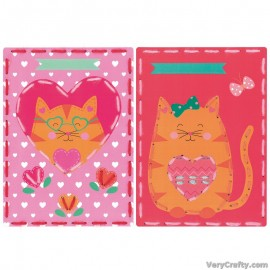 Cards: Cat with Hearts: Set of 2  Embroidery Kit by Vervaco / Lanarte