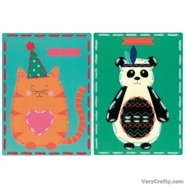 Cards: Cat and Panda: Set of 2  Embroidery Kit by Vervaco / Lanarte