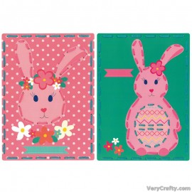 Cards: Rabbit with Flowers: Set of 2  Embroidery Kit by Vervaco / Lanarte