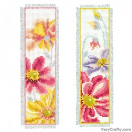 Colourful Flowers (Set of 2) Bookmarks Counted Cross Stitch Kit Kit by Vervaco / Lanarte