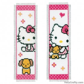 Hello Kitty with Dog (Set of 2) Bookmarks Counted Cross Stitch Kit Kit by Vervaco / Lanarte