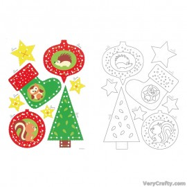 Cards: Christmas Decorations: Set of 2  Embroidery Kit by Vervaco / Lanarte