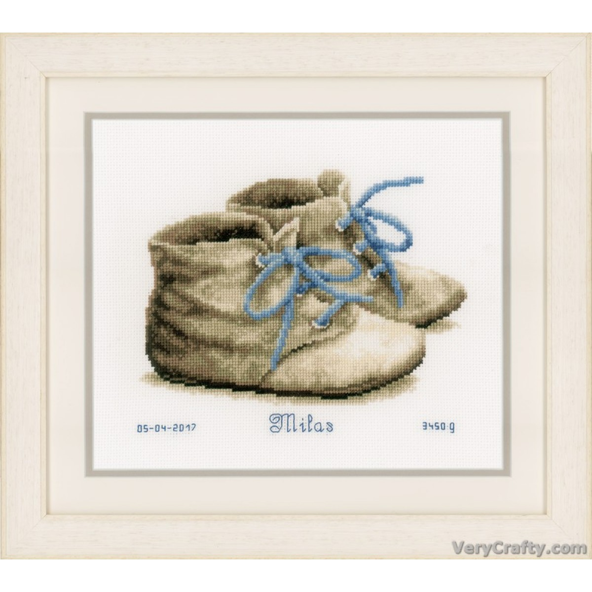 Cross Stitch Kit Baby Shoes Vervaco PN-0162101 Birth Record