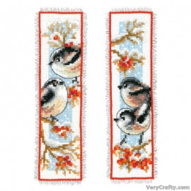 Long-Tailed Tits & Red Berries: Set of 2 Bookmark Counted Cross Stitch Kit by Vervaco / Lanarte