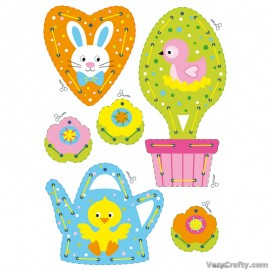 Cards: Easter Hanging Decorations: Set of 2  Embroidery Kit by Vervaco / Lanarte