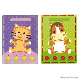 Cards: Cat & Pony: Set of 2  Embroidery Kit by Vervaco / Lanarte