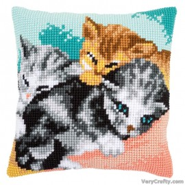 Cute Kittens Cushion Front Cross Stitch Kit by Vervaco / Lanarte