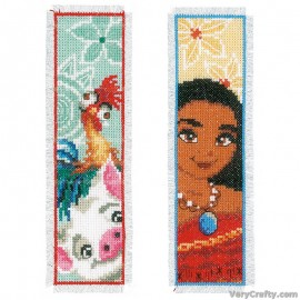 Disney Moana (Set of 2)  Bookmarks Counted Cross Stitch Kit by Vervaco / Lanarte