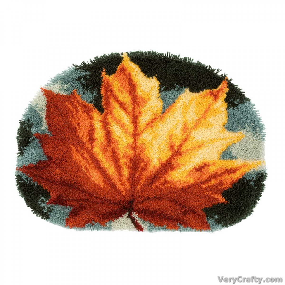 Rug Shaped Kit Autumn Leaf Latch Hook Kit By Vervaco
