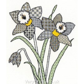 Daffodils Blackwork Kit - Bothy Threads