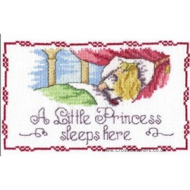 A Little Princess Sleeps Here Door Plaque - All Our Yesterdays Cross Stitch Kit