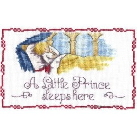 A Little Prince Sleeps Here Door Plaque - All Our Yesterdays Cross Stitch Kit
